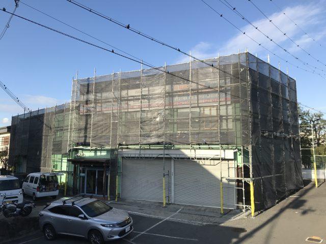 堺市株式会社イーテック様事務所修繕工事足場組立完了